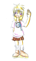 Girl waving by Mirlin