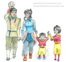 Bolin, Korra and the babies airbenders by Pabloeinstein