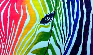 Rainbow Zebra by iWildBlood