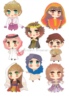 Chibi Sheet: Arabian costumes by BLACKlbutterfly