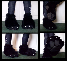 Wolf Slipper-Footpaws by CuriousCreatures