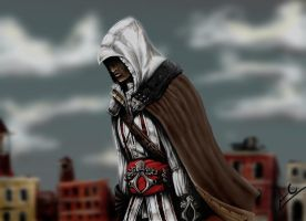 Ezio on the roofs by froggywoggy11
