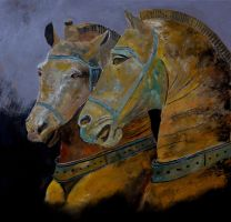 Two horses by pledent