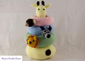 Safari Friends Crochet Stacking Ring Toy with Nois by karenscrochetcorner