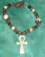 Red Tigerseye and Mother-of-Pearl Ankh Bracelet 2 by Windthin