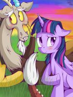 Discord and Twilight Sparkle by KiraitheEchidna