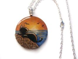 Beach Black Cat - Pendant Necklace by sobeyondthis