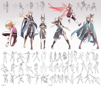 + Poses and character Practice + by goku-no-baka