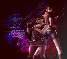 Jill_Valentine_and_Claire_Redfield_Wallpaper by PrincessGame