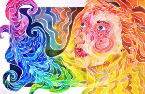 Fibonacci Spiral Self-Portrait by PaintMyWorldRainbow
