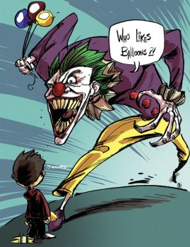 The Joker as Pennywise the clown by nandop