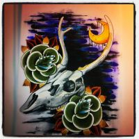 Deer skull and roses by jerrrroen