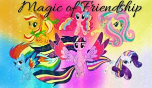 MLP:FIM Mane Six Rainbow Power (20 WATCH Special) by DaBlackPhoenix