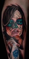 Kitty Lea Lady of the Dead by Reddogtattoo