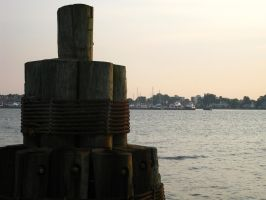 Bay, Wooden Posts at Sunset by demboys18