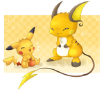 Pikachu and Raichu by FuwaKiwi