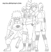 Team 10 and Naruto Lineart by Ma-Lou