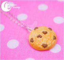 Chocolate heart chip cookie Necklace by CuteMoonbunny