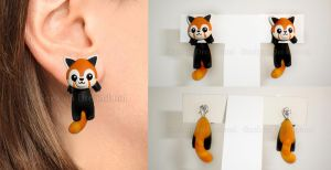 Red Panda clinging Earrings by GeekOnDreamland