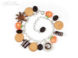 Bracelet with cookies and orange by OrionaJewelry