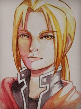 Edward Elric Watercolor Fanart by Resa11