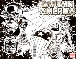 Captain America Issue 1 Sketch Cover Commission by ElfSong-Mat