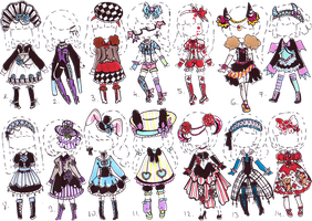 -CLOSED-Gothic OUTFIT ADOPTS by Guppie-Adopts