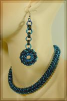 Blue n Teal Necklace Set by MajorTommy