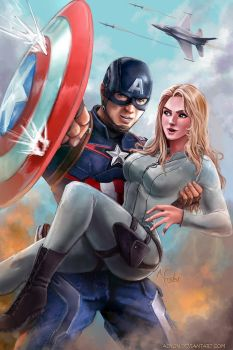 Captain America and Sharon Carter by Adyon