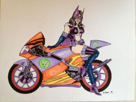 Huntress motorcycle, colored pencil by SSGJoey