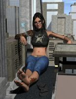 Giantess Smoke Break by DarkestHour55