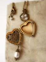 Heart Locket Necklace - white2 by Aranwen