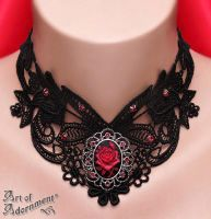 Sanguine Gothic Rose Cameo Lace Choker by ArtOfAdornment