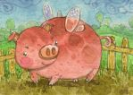 ACEO - Fairy Piggy by Adelaida