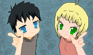 Rin and Shiemi, wallpaper by TheSpiderAdventurer