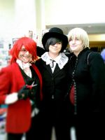 Grell, Ciel, Alois cosplayers at AnimeWorld Indy by neko78901