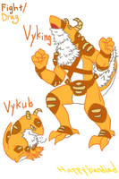 Fakemon #2! Vykub and Vyking (Pre-shading) by AkariShinsei