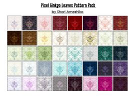 Pixel Ginkgo Leaves Pattern Pack by ShoriAmeshiko