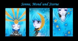 Sun, Moon and Stars by m-u-ll-e