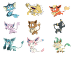 [AT] BowMeow Eeveelutions by Zerovot