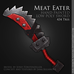 Meat Eater - low poly hand painted sword by Fox-Demon-Kasumi