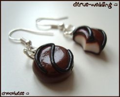 teeny chocolate earrings :D by citruscouture
