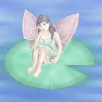 Faery On LilyPad by Leucrota