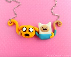 Jake and Finn Necklace Hugging Best Friends by Olechka01