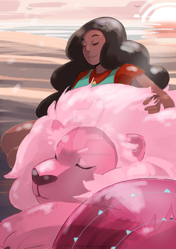 Stevonnie and Lion by incaseyouart