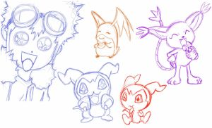 Digimon Sketchdump by tsunobrat