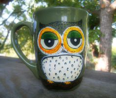 Blue Owl Green Owl - Coffee Mug by InkyDreamz
