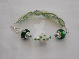 Green and white charm and seed bead bracelet 342b by Quested-Creations