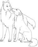 . Wolf couple Lineart . by Arukardis