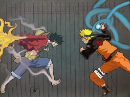 Luffy vs Naruto Colour Ver. by kharisputra